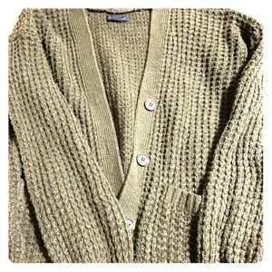 Chunky green knitted cardigan
